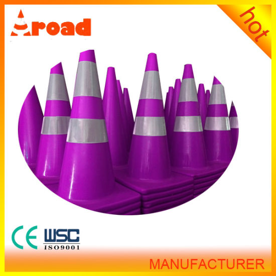 Different Colored 2 Reflective Tapes PVC Traffic Cone pictures & photos