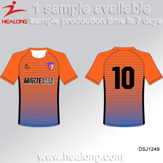 Healong 100% Polyester Sublimated Strip Soccer Uniform pictures & photos