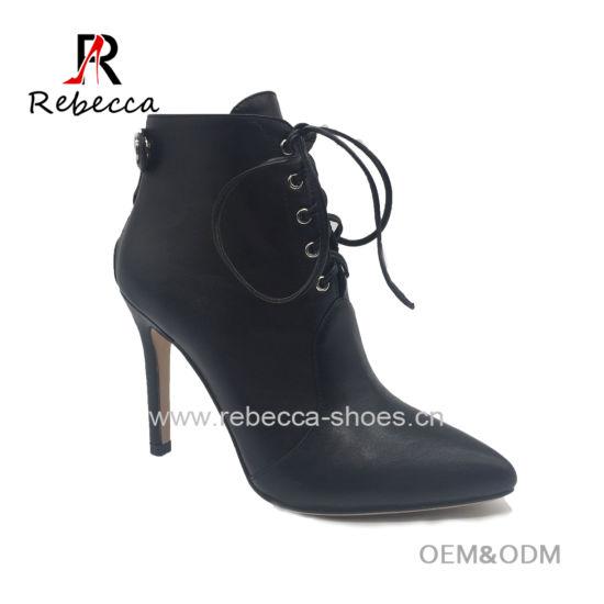 ec023c126 China Women Winter Leather Shoe Stiletto PU High Heel Ladies Boots ...