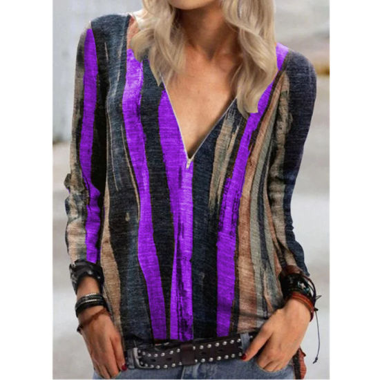 Women Plus Size Horizontal Stripe Design Shirt Long Sleeve V-Necked Zippered Loose Pullover Blouse Esg16417 pictures & photos