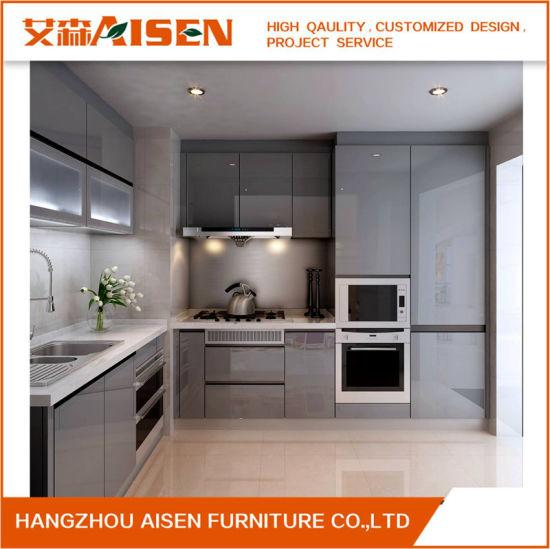 2018 Apartment Dark Color Lacquer Kitchen Cabinet, Small Kitchen Design  Furniture