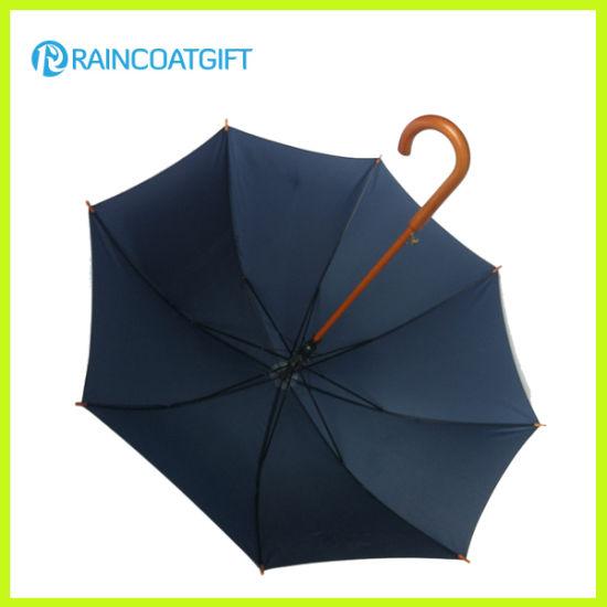 Auto Open Straight Wooden Handle Golf Umbrella