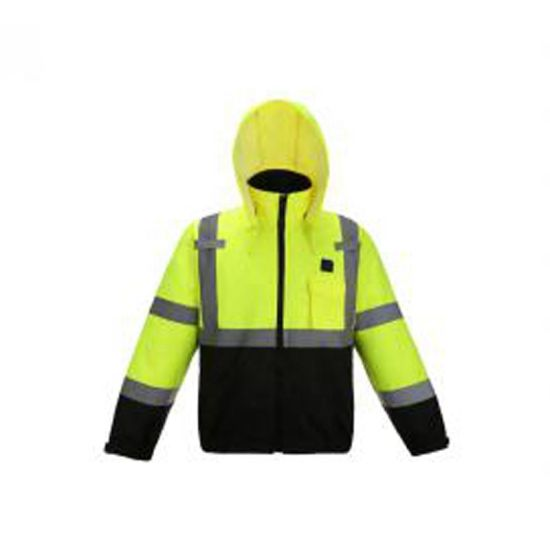 High Quality Comfortable Reflective Safety Jacket Workwear with Zipper Closure and Adjustable Hoodie