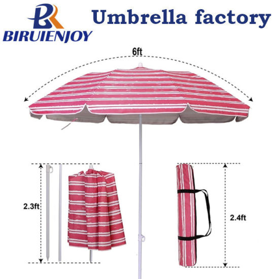 6FT Folded Portable UV Silver Coating Polyester Beach Umbrella with Tilt and Stripe Carry Bag