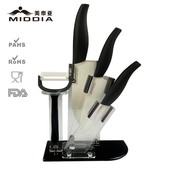 5PCS Ceramic Kitchen Knife Set with Stand pictures & photos