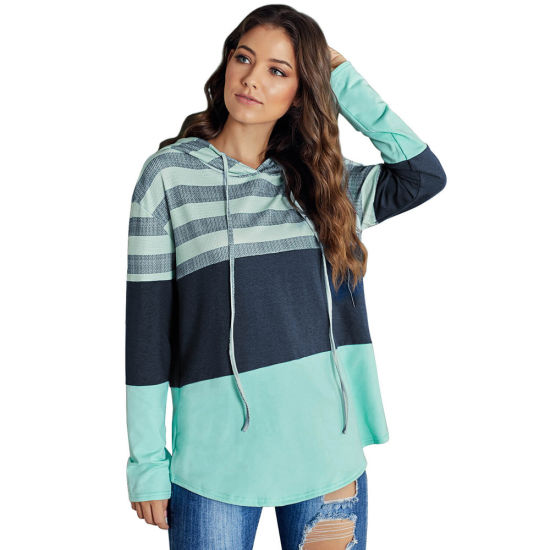 Womens Striped Basic Pullover Hoodie Sweatshirt