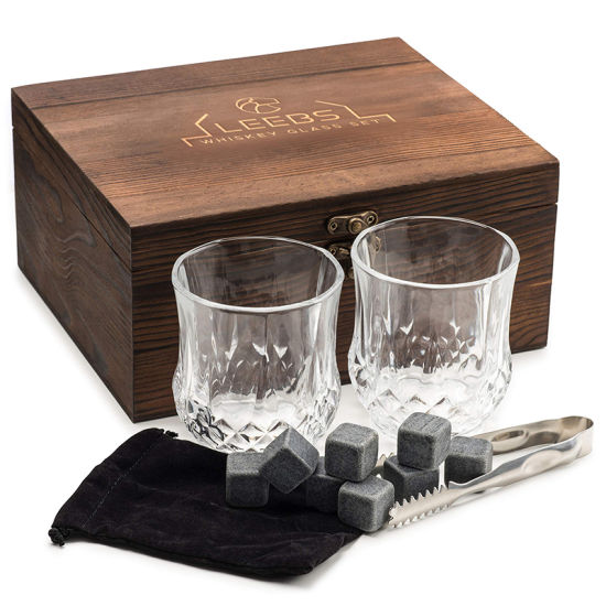 Premium Whisky Gift Set Wine Box with 2 Large Whiskey Cups / 8 Whiskey Stones / Pliers / Velvet
