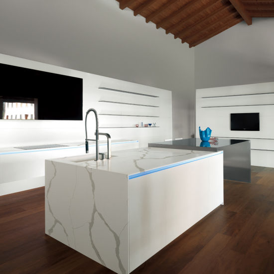 New Products Quartz Stone Slab for Kitchen Cabinet Worktop Work Top Solid Surface White Artificial Marble Countertop