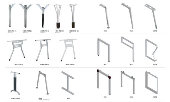 White or Silver Color Office Table Furniture Steel Metal Leg pictures & photos
