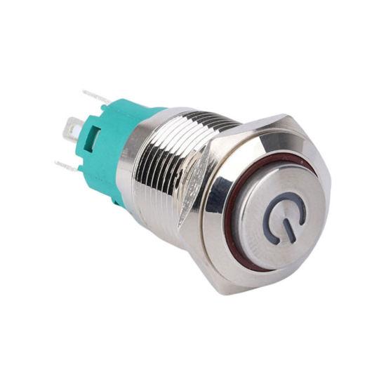 16mm 12V Power Symbol Illuminated Latching Waterproof Push Button Switch