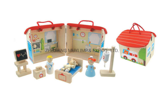 Intellectual Educational Wooden Toys for Kids Gift, 22789 Lindatoy Portable Hospital Playset
