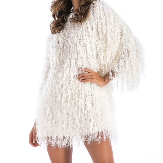 Round Collar Half Sleeve Fringed Sweater Dress for Christmas/Night Party Tassel Blouses pictures & photos