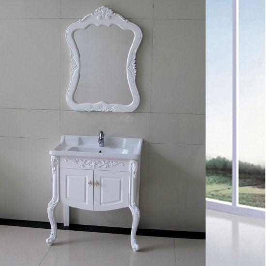 Ceramic Basin with Mirror, White PVC Bathroom Cabinet