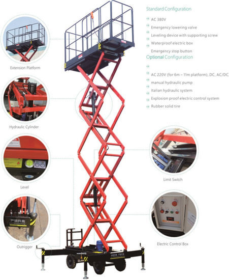 Mobile Scissor Lift (economy) (Max Platform Height 14(m)) pictures & photos