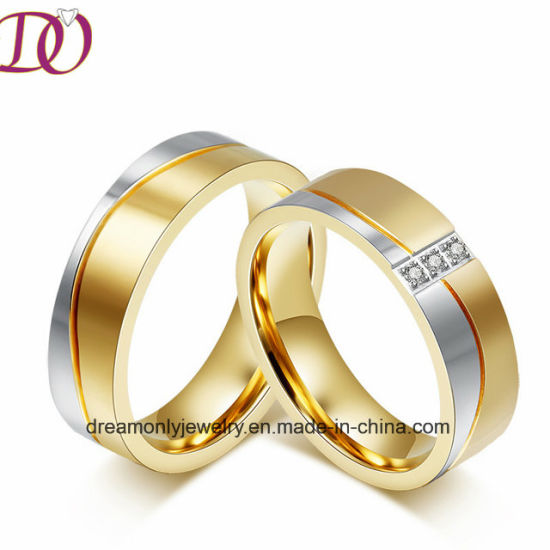 IP Gold Plated Wedding Band Ring Handmade Couple Rings CNC Jewelry pictures & photos