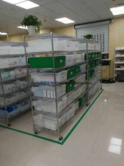 Factory Price 4 Tiers Chrome Steel Wire Shelving Hospital Chemist′s Shop Storage Rack pictures & photos