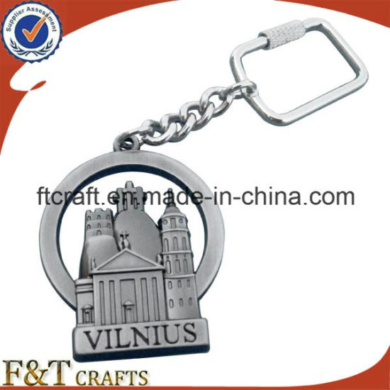 Personalized Manufacturer Antique Sliver Plated 3D Hollow Metal Keychain