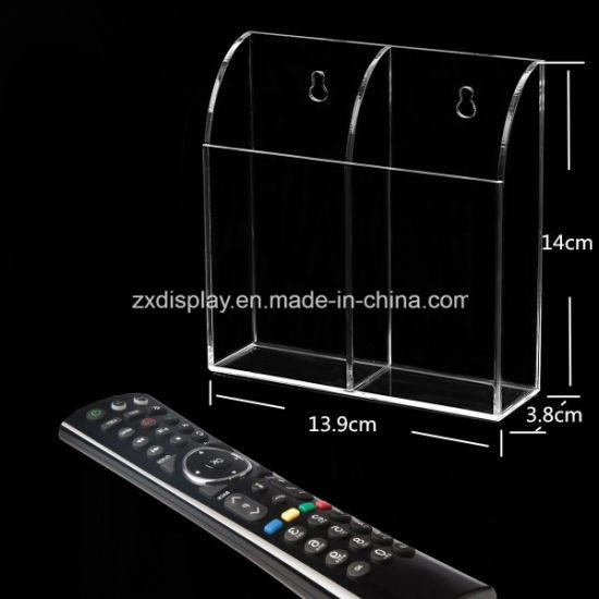 Acrylic TV Remote Control Holder Wall Mount Storage Box Media Organizer Rack