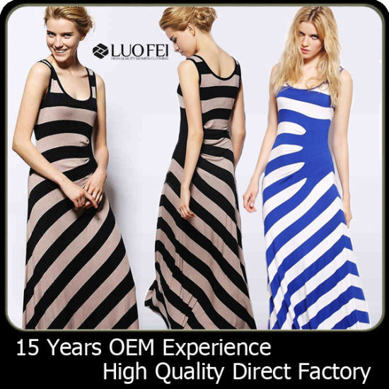 High Quality Rayon Striped Women Designer Long Maxi Dress pictures & photos