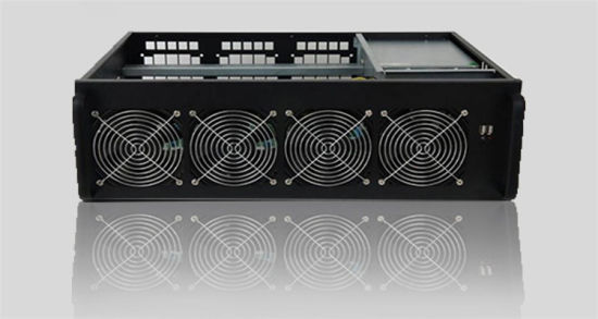 China 6u 6GPU 8GPU Frame Rig Case with 4 Fans for Ethereum Mining