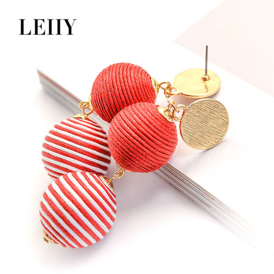 Hot Fashion Drop Earring Jewelry Thread Wrapped Two-Ball Earrings Design pictures & photos