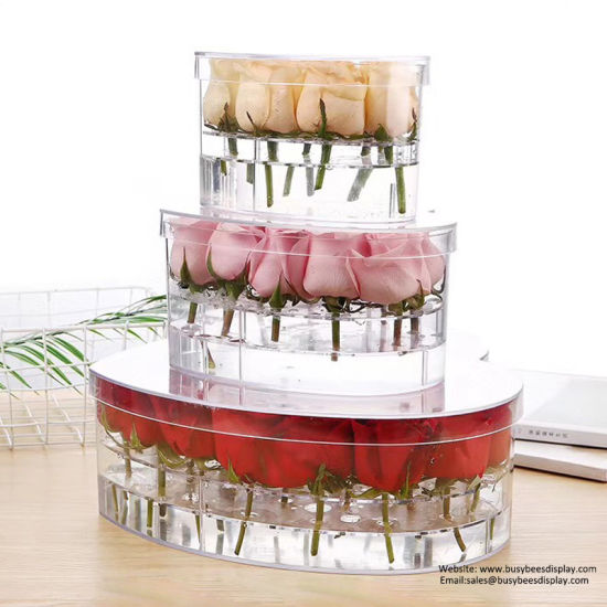 Clear Acrylic Flower Box Water Holder Vase Decorative Square Rose Pot Wedding Flower Gift Box pictures & photos