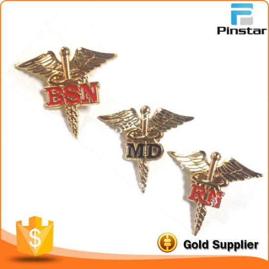 Free Design Metal Gold Pilot Wings Lapel Pin