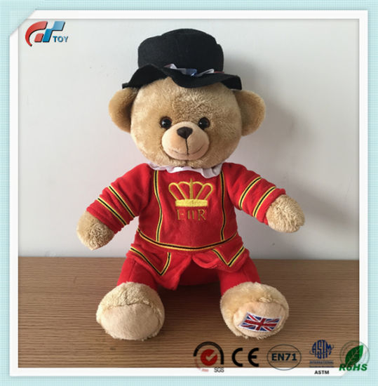 Cute Design Customized Brown Teddy Bear Wearing Uniform Toy