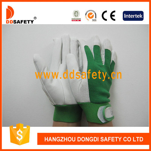 Ddsafety 2017 Pig Grain Leather Green Elastic Cuff Pig Leather Gloves pictures & photos