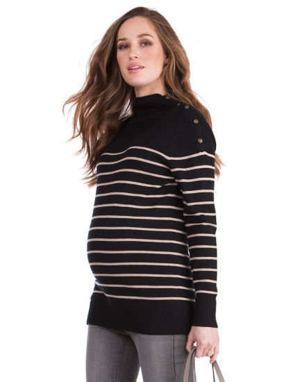1800ec27ec446 High Quality Women Winter Stripe Funnel Neck Maternity & Nursing Sweater
