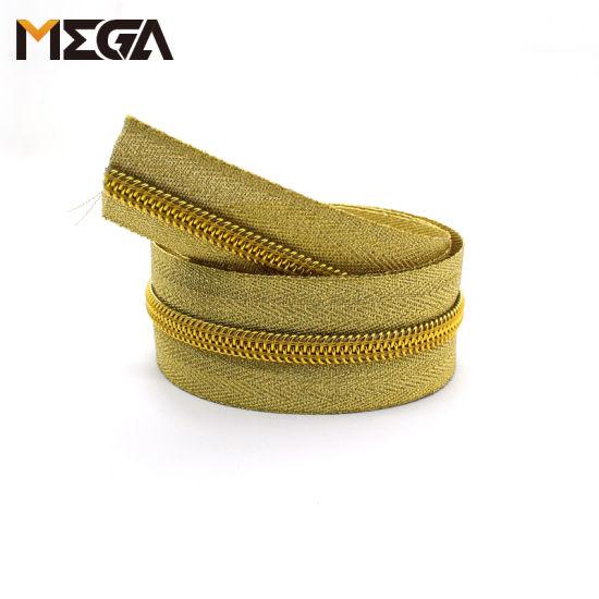 Metallic Luster Nylon Zipper Gold Tape Gold Tooth Nylon Zipper