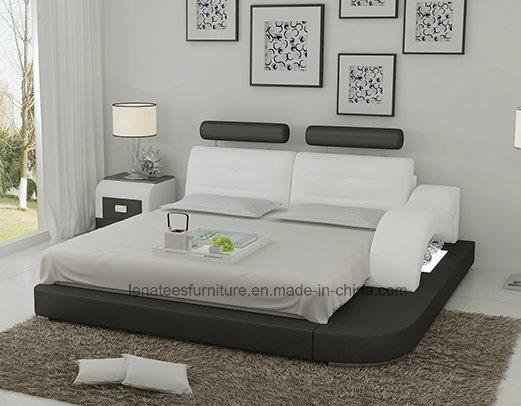 Lb8802 Modern Designer Furniture Led Light Adjustable Headrest Leather Bed China Leather Bed Bed Made In China Com