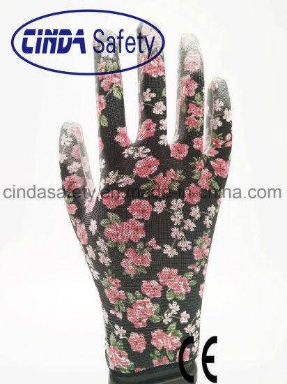 Colorful Flower Printing Garden Working PU Coated Gloves pictures & photos