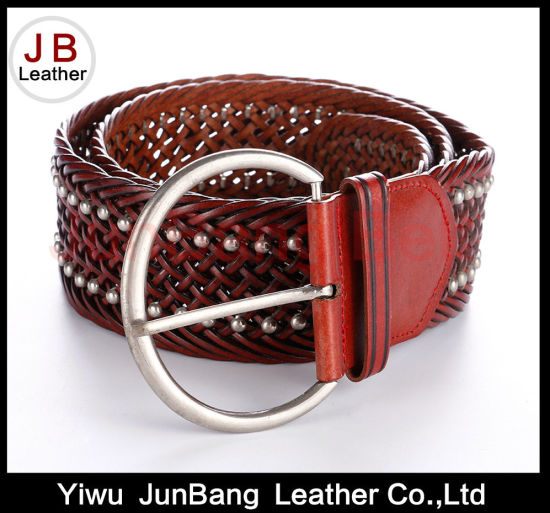Fashion Ladie's Bonded Leather Braid Belt with Rivet