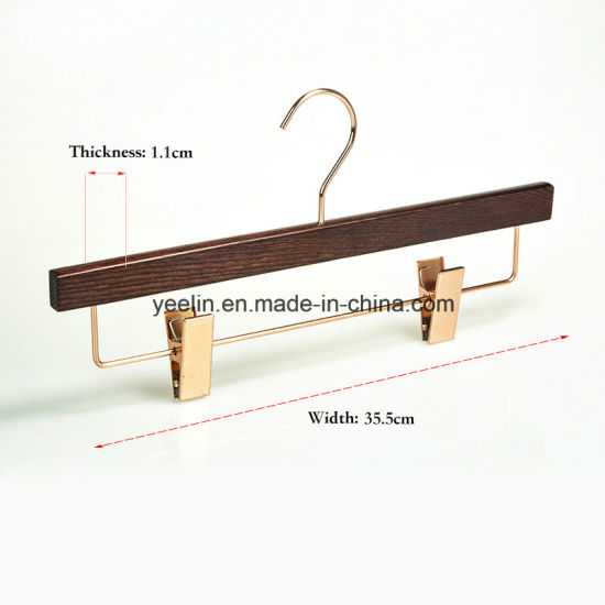 Popular Wooden Pants Hanger with 2 Rose Gold Metal Clips (YL-a007) pictures & photos