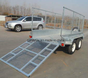Tandem Box Caged Trailer with Rear Ramp pictures & photos