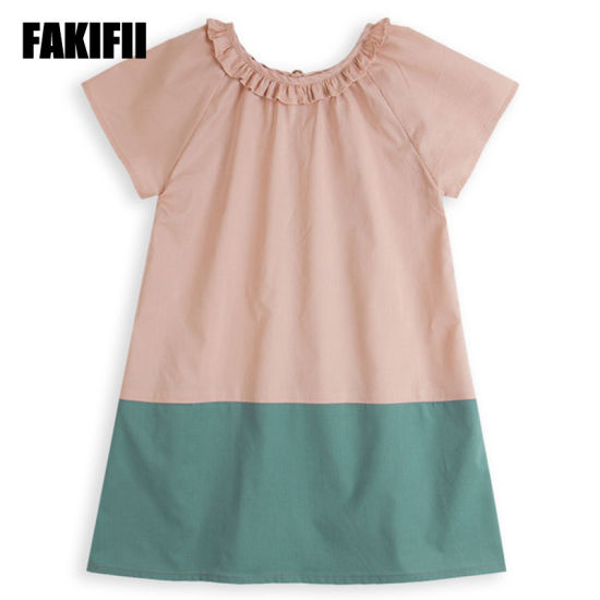 Wholesale American&European Style Baby Wear Children Clothing Summer Girl Patchwork Cotton Dress Cotton Kids Apparel