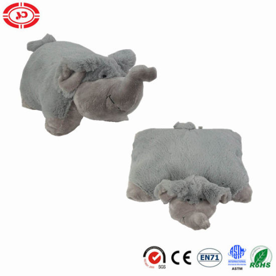 Grey Fluffy Elephant Cute Stuffed Toy 2in1 Pillow Kids Cushion