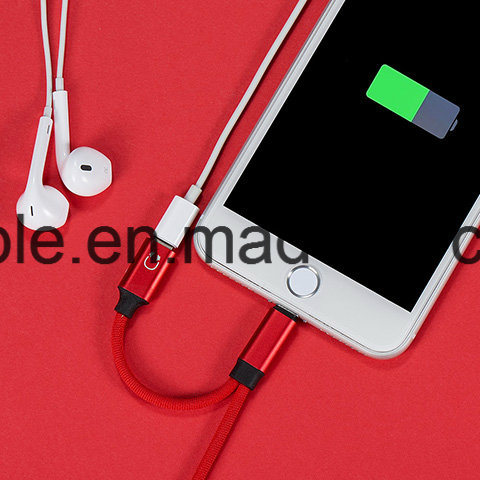 10cm Braiding Lightning Splitter Cable for iPhone X pictures & photos