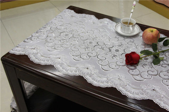 Hot Sale Cheap Long Lace Vinyl PVC Gold/Silver Tablecloth In Rolls  (JFBD 020)