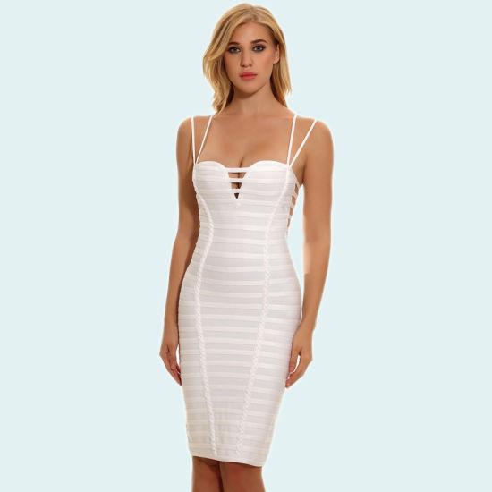 927bb19cbbf7 Lady Tight Bandage Dress Rayon White Spaghetti Strap Dress Sexy V Neck Mini  Dress