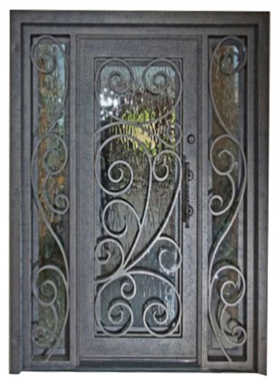 Square Top Modern Custom Single Iron Entry Door With Sidelights