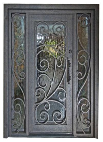 China Square Top Modern Custom Single Iron Entry Door With Sidelights China Exterior Door Steel Door