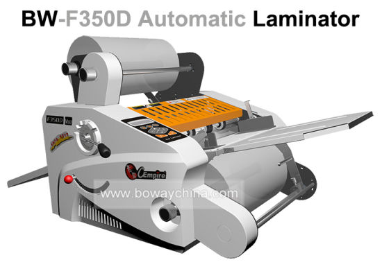 Office Equipment 350mm Automatic Feeding Auto Slitting Roll Pouch Film Hot Cold Photo Paper Laminator Lamination Laminating Machine pictures & photos