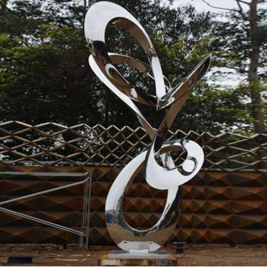 Large Garden Art Metal Sculptures Stainless Steel Woman Polished