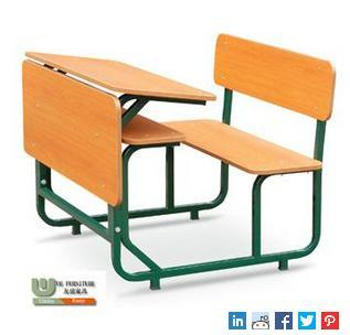 Double Connected Desk and Chair School Furniture