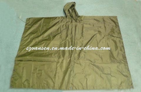 Breathable Waterproof Olive Green Rain Poncho with Hood