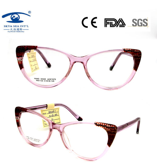 New Design Cat Eyeshape Combination Handmade Acetate Optical Frames pictures & photos