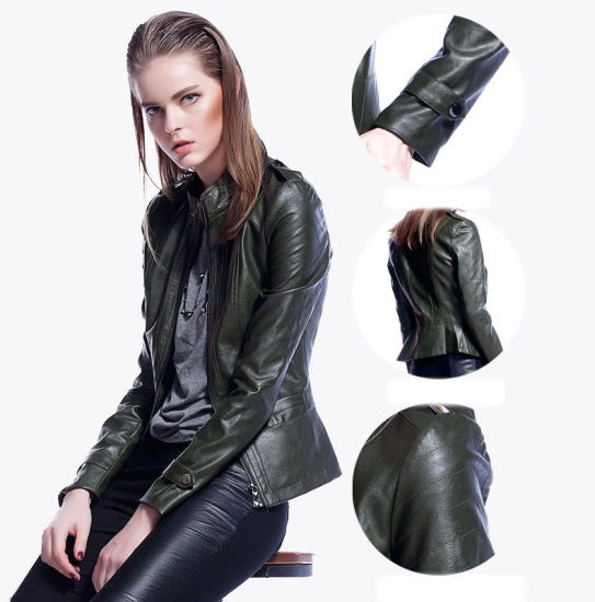 High Quality Hot Sale Winter Women Coat Motorcycle PU Leather Jacket