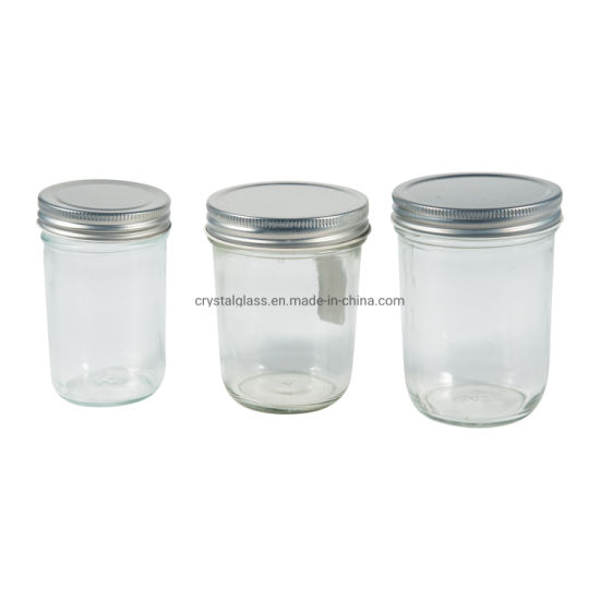 100ml 200ml 350ml 500ml 600ml Glass Mason Jam Honey Canning Caviar Food Storage Jar with Lid